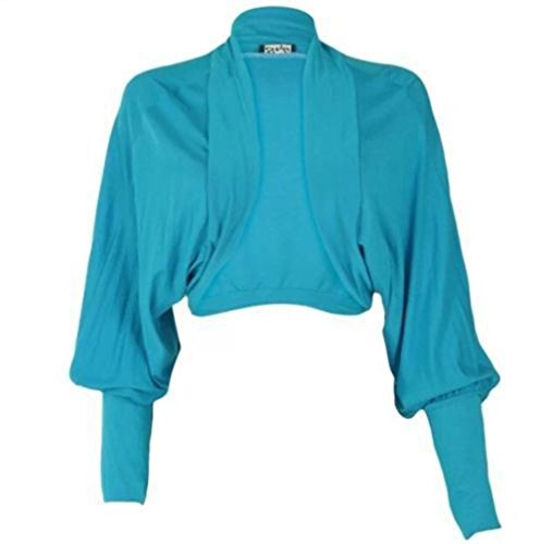 Janisramone Femmes dames Nouveau Batwing Longue Manches Plaine Boléro Shrug Ouvrir De face Jersey cropped cardigan Haut Bleu turquoise