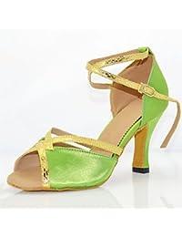 """No personalizables Zapatos de baile femenino Cuero Cuero América /modernas Sneakers Chunky talón práctica,1 3/4""""(4.6cm) espeso talón,verde,US3.5/EU33/UK1.5/CN32"""