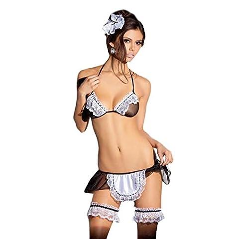 1 PC Mode Sexy transparent Sous-vêtements Femme de ménage Uniformes Tentation Lingerie par Reaso (Noir)