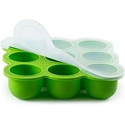 BabyBliss Eco amistoso de silicona comida para bebé Freezer bandeja de almacenamiento | 9 copas grandes (2.5 onzas) | Tapa De Silicona Clip-On | Toxina y BPA libre y aprobado por la FDA | Horno y lavavajillas