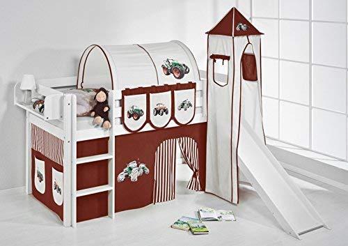 Lilokids Spielbett JELLE mit Turm, Rutsche und Vorhang Kinderbett Holz weiß 208 x 98 x 113 cm