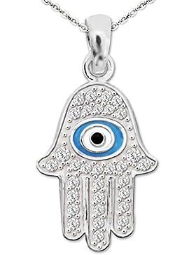 CLEVER SCHMUCK-SET Silberner Ägypten Anhänger Fatima Hand 16 mm mit vielen Zirkonias und Auge blau schwarz weiß...