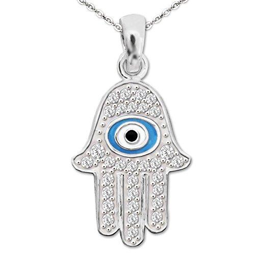 Clever Juego de joyas plateado Egipto Colgante Mano Fátima 16mm con muchos Circonita y ojo azul blanco y negro y cadena ancla 45cm plata de ley 925