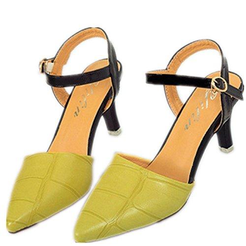 SHUNLIU Damen Römisch Nubukleder Spitz Zehe Stiletto Knöchelriemchen Sandalen Pumps mit Wort Schnalle Bequeme Geschlossen Schuhe Grün