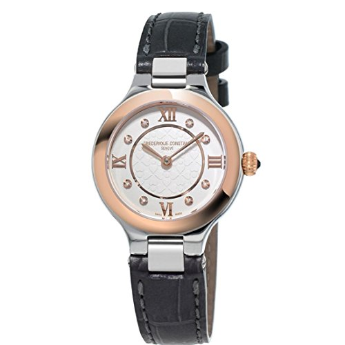 Frederique Constant Women's Leather Band Gold Tone Steel Bracelet Swiss Quartz Analog Watch FC-200WHD1ER32