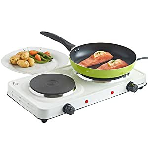 VonShef Compact Portable Double Hot Plate Table Top Hob in White 2500W