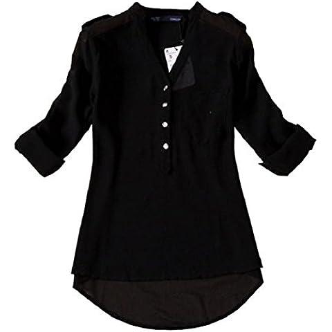Culater® Las mujeres con cuello en V gasa de manga larga camisa casual