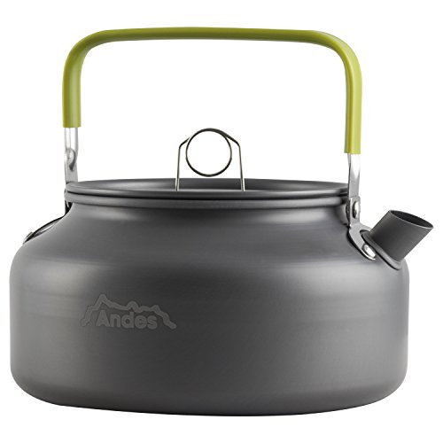Andes Portable Aluminium 0.8L & 1.2L Camping/Hiking Kettle Coffee Teapot