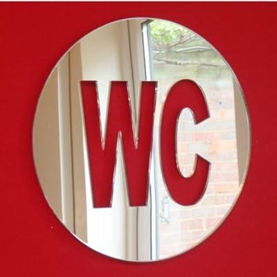 WC Schild rund Spiegel 12cm x 12cm