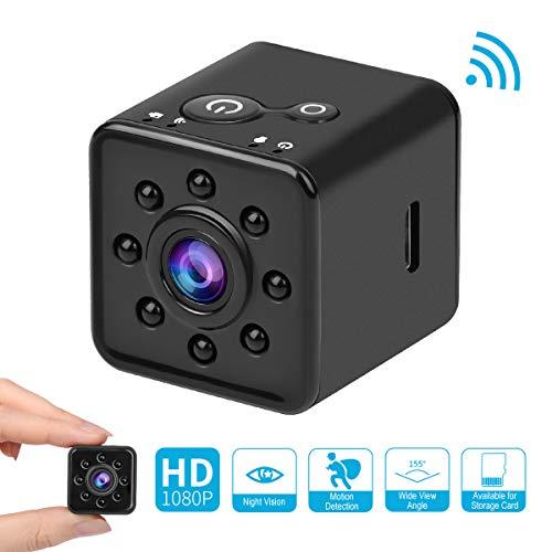 Mini Kamera 1080P HD Videokamera mit Infrarot Nachtsicht CMOS Mikro Action Kamera 155 Grad Tragbare Kleine Nanny Cam Unterstützung Mobile WIFI Hotspot für FPV Drone (SQ13 Mini Kamera 1080P)