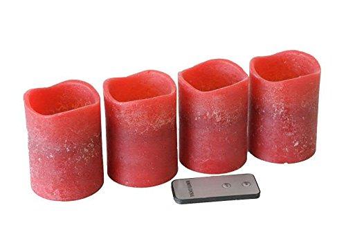 Kleine LED Adventskerze mit gewelltem Rand - 4 Stück - Rot - Höhe: 10cm / Ø 7cm - Material: Echtwachs - Batteriebetrieben & Fernbedienung