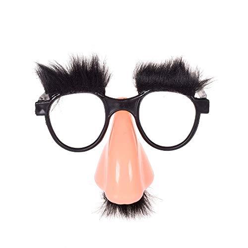 Maxgoods classico travestimento   grande favore di partito   occhiali con divertente sfocato naso enorme, baffi, folte sopracciglia per bambini divertimento, festa, costume, ognissanti