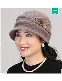 FRGVSXZCX Moda Cappelli Cappellino Donna Mezzo e Vecchio Inverno Mamma Cappello  di Lana Cappello Nonna Pot ed2c35b0ac08