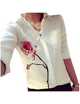 ZARU Las mujeres de la blusa de manga larga flor de Rose vuelta abajo a la gasa del collar camisas blancas