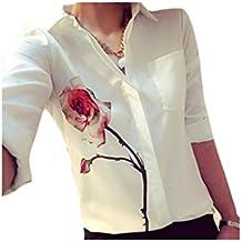 ZARU Las mujeres de la blusa de manga larga flor de Rose vuelta abajo a la