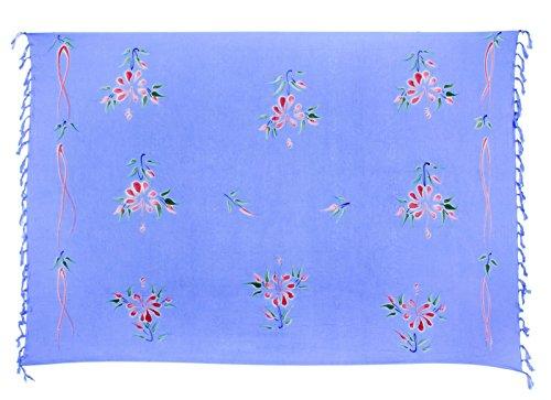 Sarong ca. 170cm x 110cm Handbemalt inkl. Sarongschnalle im Schmetterling Design - Viele exotische Farben und Muster zur Auswahl - Pareo Dhoti Lunghi Blumen Hell Blau