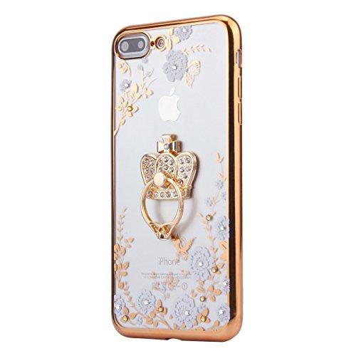iPhone 7 Plus Hülle,iPhone 7 Plus Silikon Hülle Tasche Handyhülle,SainCat Flamingos Muster Ultra dünne Silikon Hülle Schutzhülle Durchsichtig Hadytasche Stoßfeste TPU Gel Case Bumper Weiche Crystal Ki Gold Kaiserkrone -Weiße Blume