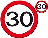 Folat Traffic Schild Geburtstag Party Place matt und Untersetzer-30. Gebur
