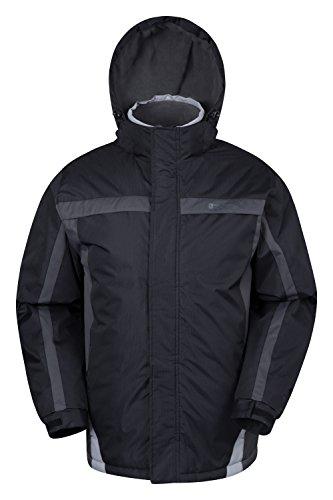 Mountain Warehouse Dusk Skijacke für Herren - Wasserbeständig, Fleecefutter, Schneerock, Kapuze und Bündchen zum Verstellen - Ideale Skibekleidung im Winter Schwarz Small