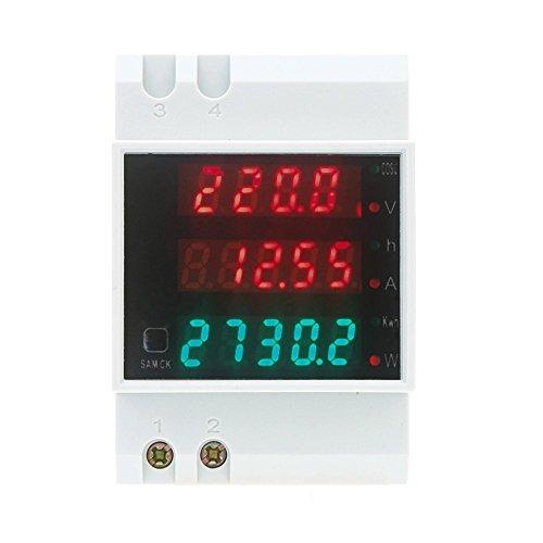 TOOGOO(R)AC80-300V 100A multifuncionales DIN digitales Rail Voltaje Blanco Voltimetro Medidor del Factor de Potencia