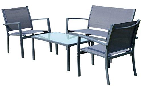 ASS Sitzgruppe Gartengarnitur Gartenset Gartenlounge CASAYA-Grey Lounge Besteht aus Einem Tisch,...