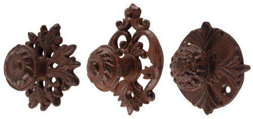 Esschert Design 2 Stück Türgriff, Türknauf aus Gusseisen, rund, sortiert, ca. 6,6 cm x 6,6 cm x 4 cm - Runde Antik