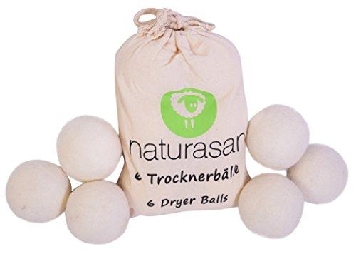 Naturasan Trocknerbälle für Wäschetrockner. 6 XXL Wollbälle, extragroß, der natürliche Weichspüler. Ideal - Trockner Daunen Tennisbälle