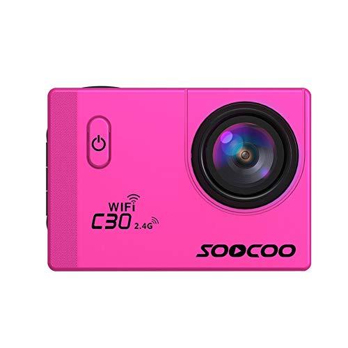 Alician SOOCOO C30R Sportkamera WiFi 4K Gyro 5,1 cm LCD-Bildschirm 30 m wasserdicht Verstellbarer Winkel Kamera Rose (20-megapixel-dslr-kamera)