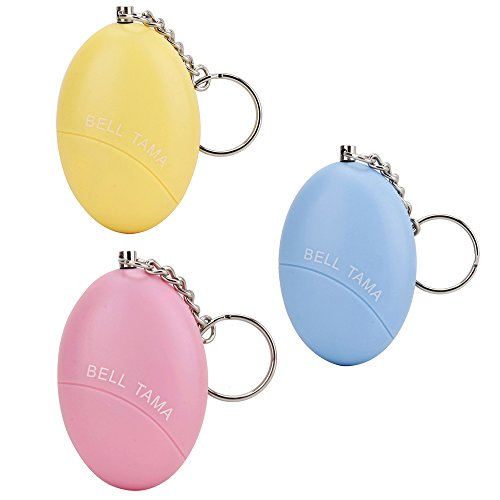 Defensa personal portátil, WER alarma personal de 100-120db tipo huevo bueno para niños, ancianos, mujeres, y personas que trabajan de noche, perfecta para la decoración del bolso(3 pcs)