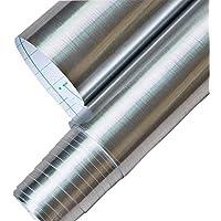Papel autoadhesivo de vinilo impermeable, color metal cepillado. Se despega y adhiere, forro para estantes, para cubrir mesadas o alacenas, se adhiere a paredes 60,96 cm x 199,9 cm, color plata