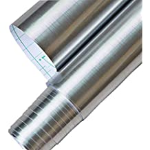 Papel autoadhesivo de vinilo impermeable, color metal cepillado. Se despega y adhiere, forro