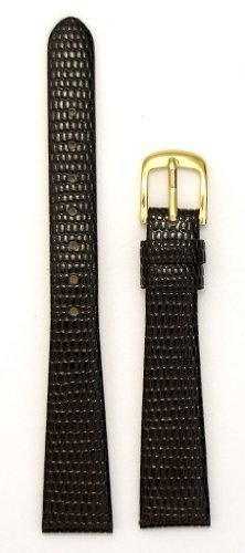 Ladies'Lizard Grain Leather Watchband, Color Brown, Size 8mm, Watch Strap