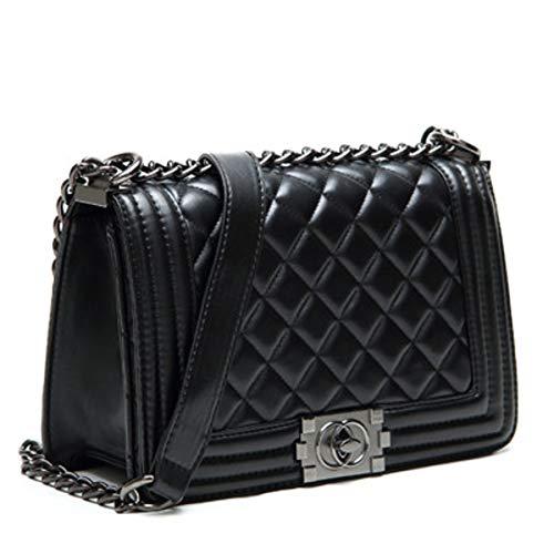 Damen Tasche europäische und amerikanische Mode rhombische Kette Tasche Temperament Schulter geschlungen Handtasche Dame Tasche (schwarz groß, 24 * 11 * 20cm) -
