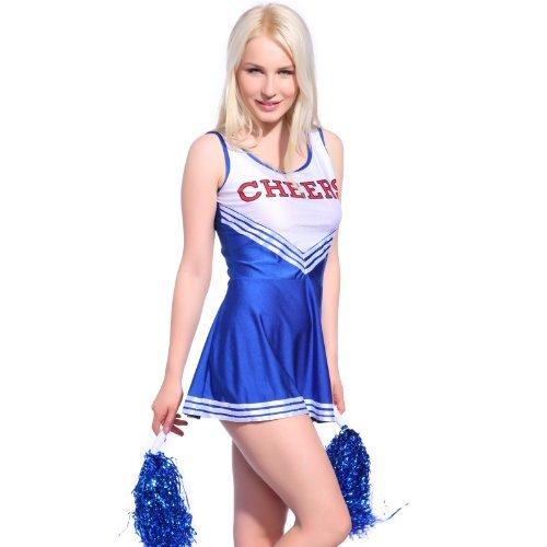 Anladia Mädchen Cheerleader Kostüm Dame Halloween Kostüm Kleid Cheerleading Bekleidung mit 2 Pompoms - Kostüm Mit Blauen Kleid