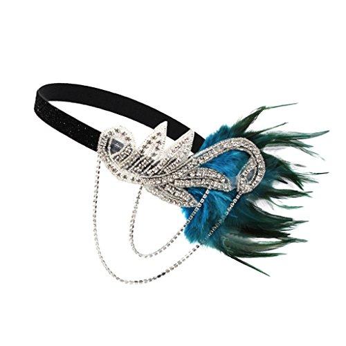 MagiDeal 1920s Stil Stirnband mit Feder Große Gatsby Accessoires für Damen - Blau, 23 x 15 cm