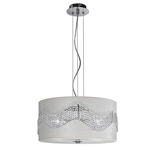 Lampadario a sospensione in ecopelle con cristalli K9 Lampada E27