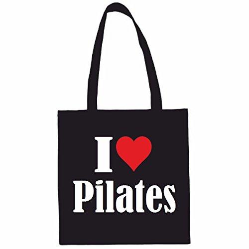 Sac à Bandoulière I Love Pilates Shopping Bag Sac d'école Sac de Sport 38x 42cm en Noir ou Blanc.. Le cadeau parfait pour votre amoureux
