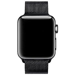 Apple Watch Bracelet Milanais, avec le Fermoir Magnétique Unique, VIKATech 42mm Strap Acier Inoxydable Band pour Apple Watch de Tous les Modèles Aucune Boucle nécessaires (Noir)