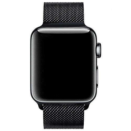 VIKATech Für Apple Watch Armband 42mm, Milanese Schlaufe Edelstahl Smart Watch Armbänder mit Einzigartiger Magnetverriegelung Ohne Schnalle für Apple Watch Armband 42mm Series 3/2 / 1, Schwarz