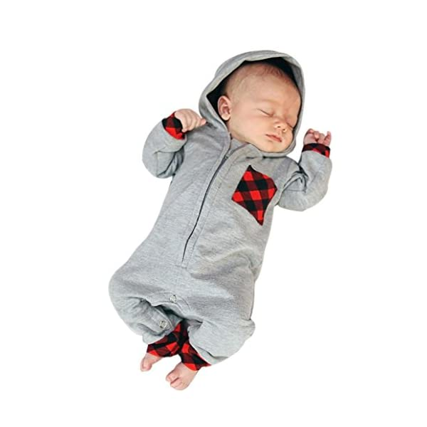 Tefamore ❤️Ropa para niños bebés Conjunto, Plaid con Capucha Mameluco Jumpsuit Trajes Ropa, 3-18M 1
