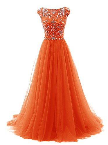 Carnivalprom Damen Perlen Cocktail Kleid Lace Blume Spitze Stickerei Rundhals Chiffonkleid Maxi Langes Abendkleid Orange
