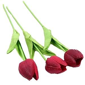 HENGSONG 10Pcs Tulipano Impianto Casa Decorazione Artificiale Per Matrimonio Party Casa (Profondo Rosso)