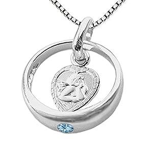 CLEVER SCHMUCK-Set Silberner Taufring mit Zirkonia Hellblau und Engel herzförmig mit Kette Venezia 36 cm Sterling Silber 925 zur Jungentaufe