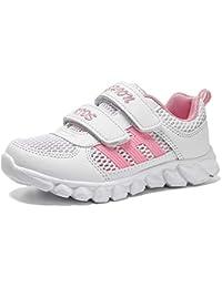 bdf13bdcab0 HSNA Zapatillas Blancas Niña Velcro Zapatos de Gimnasia Niña pequeñas Ligero  y Transpirables(28-
