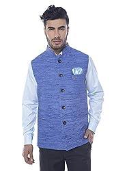 Mohanlal Sons Mens Cotton Nehru Jacket (ST-794-6-BLUE-DK139-44)