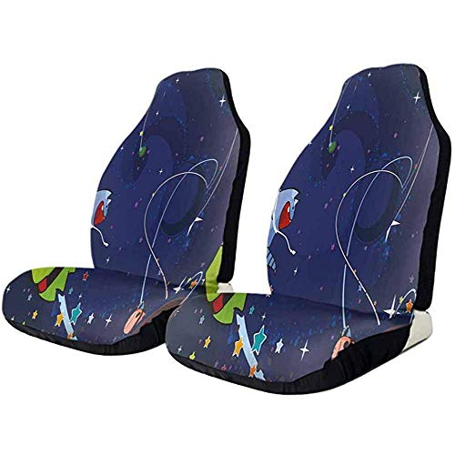 2PCS Protezione per sedile automatico, Cartoon Kiss in Space Coprisedile avvolgente universale Protezione anteriore per auto ultra-morbida
