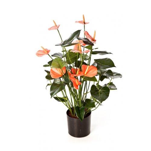 artplants – Kunstpflanze Anthurium-Busch Levana, 13 Blüten, rosa, Deluxe, 80cm – Anthurie künstlich/Kunstblumen