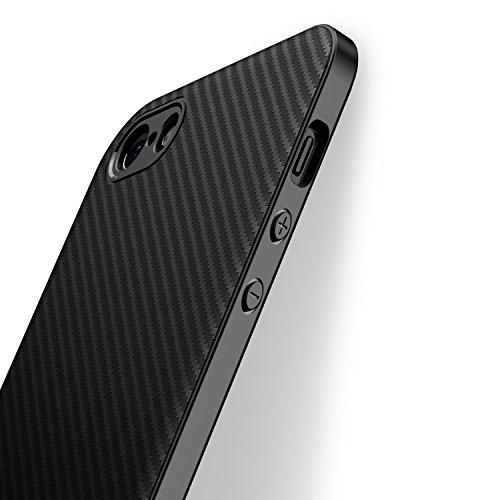 J Jecent Cover iPhone 5/5S/SE [Design Fibra di Carbonio] Custodia Case di Protezione in Silicone TPU [Anticaduta, Antiscivolo, AntiGraffio, Antiurto] per iPhone 5/5S/SE- Nero