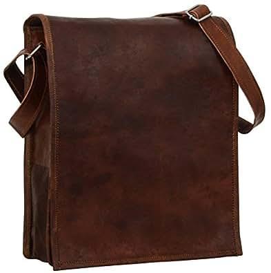 "Gusti Cuir nature ""Finn"" sac bandoulière sac en cuir véritable sac messenger sac notebook 11,6"" iPadAir 9,7"" vintage sac porté épaule sacoche besace tendance homme femme marron M3"