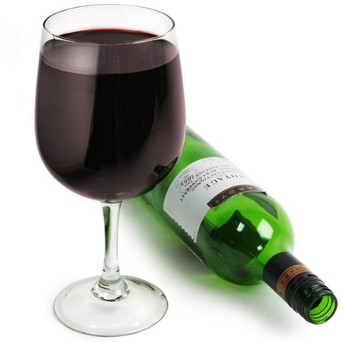 XXL-Weinglas - Weinflasche in ein Weinglass | Als Geschenk verpackt | Fassungsvermögen 750ml/75cl -...